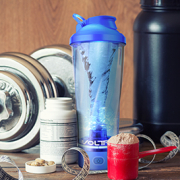 The voltrx protein shaker bottle works very well. Very efficient.